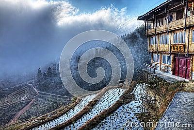 Guan Jing Lou GuestHouse, Longji Rice Terrace, Chi Editorial Stock Image