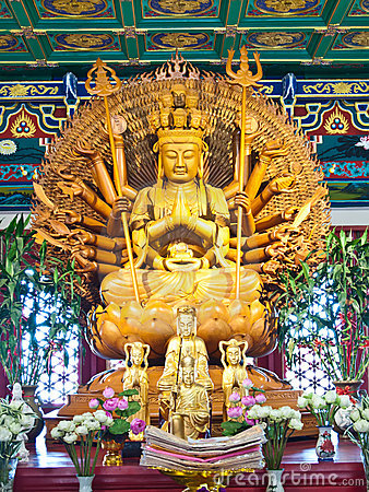 Free Guan Yin Statue In Temple , Thailand Royalty Free Stock Photo - 21102125