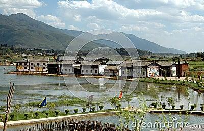 Guan Yin Xia, China: Village and Rice Paddies Editorial Photography