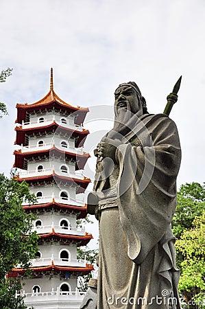 Guan Yu and Chinese pagoda