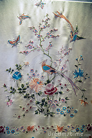 Free Guangdong Embroidery Art, Caragana Flower Butterfly Pattern Shawl. Royalty Free Stock Images - 91658219