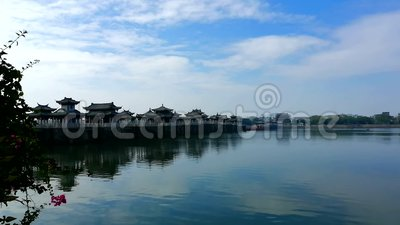 Guangji Xiangzi most na wschód od Chaozhou, prowincja guangdong, Chiny zdjęcie wideo