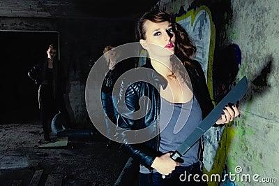 Guard brunette