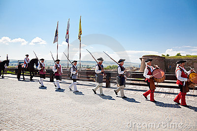 The guard change at Alba Iulia Fortress Editorial Stock Image