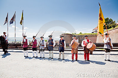 The guard change at Alba Iulia Fortress Editorial Photo