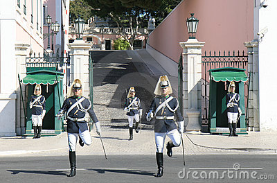 Guard changing near Presidential Palace Lisboa Editorial Photography