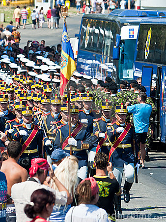 Guard contingent flag parade Navy Day Editorial Image