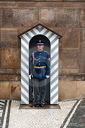 Guard in the entrance of Prague`s castle Editorial Photography