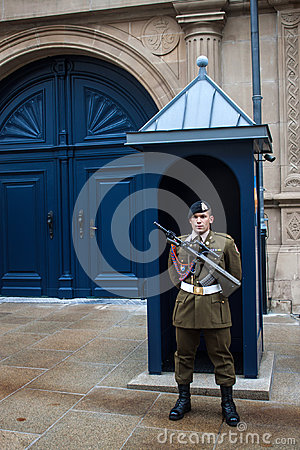 Guard in front of Grand Ducal Palace Editorial Stock Image