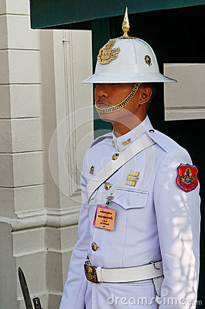 Guard at Grand Palace, Bangkok, Thailand Editorial Photography