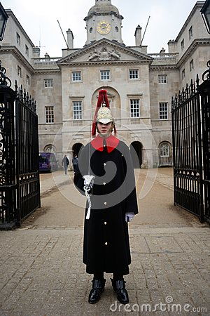 A Guard guards the entrance in Whitehall Editorial Photo