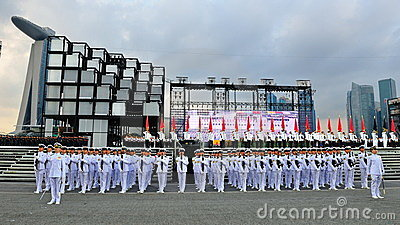 Guard-of-Honor contingents saluting to President Editorial Image