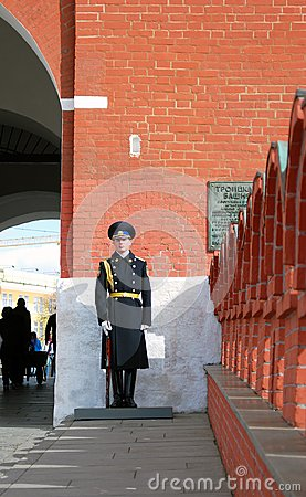 Guard of honor. Entrance to Moscow Kremlin. Editorial Stock Image