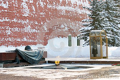 Guard of honour. Eternal flame. Moscow Kremlin. Editorial Stock Image