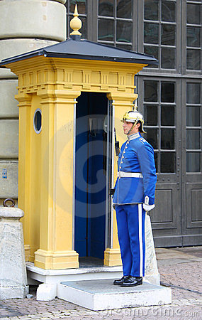 Guard near the Royal Palace in Stockholm Editorial Photography