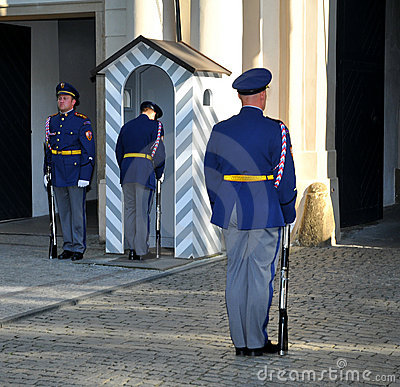 Guard at Prague Castle Editorial Photography