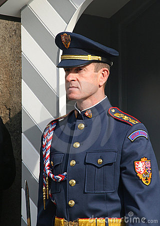 Guard at Prague Castle Editorial Photo