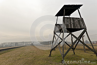 Guard tower at Auschwitz 2  Birkenau Editorial Stock Image