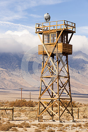 Free Guard Tower Searchlight Manzanar National Historic Site California Stock Photography - 47337052