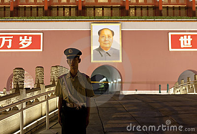 Guard watch at Tiananmen gate Editorial Stock Photo