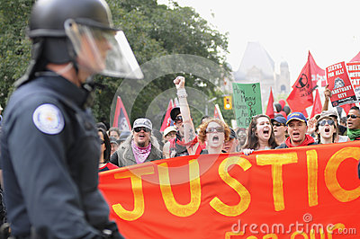 Guarded rally. Editorial Stock Photo