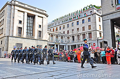 Guardia di Finanza marching in official parade Editorial Image
