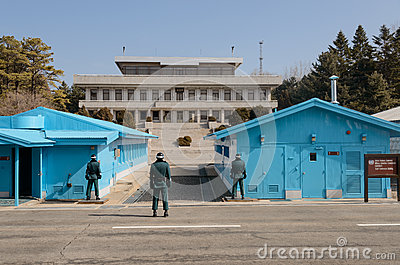 Guarding the North-South Korea borders Editorial Stock Photo