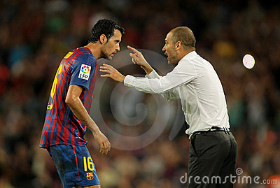 Guardiola of FC Barcelona give orders Editorial Photo