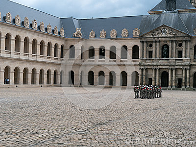 Guards at des Invalides complex Paris Editorial Stock Photo