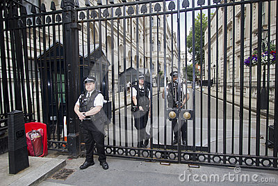 Guards at Downing Street, London, UK Editorial Image