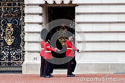 Guards outside Buckingham palace, London