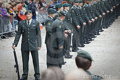 Guards waiting for queen Beatrix Editorial Stock Photo