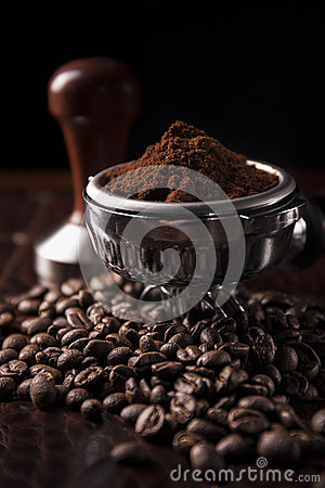 Guatemala ground coffee with coffee bean