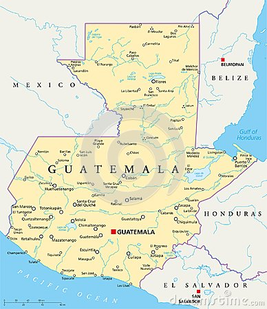 Free Guatemala Political Map Royalty Free Stock Photo - 102958415