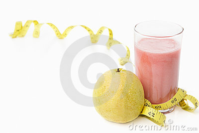 Guava and juice with measuring tape