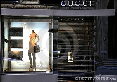 Gucci high fashion store in Florence, Italy Editorial Stock Photo