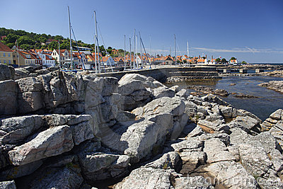 Gudhjem and its small harbour. Bornholm, Denmark