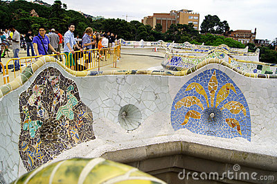 巴塞罗那guell公园西班牙 编辑类库存照片