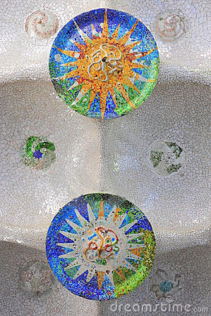 Guell mosaics by Gaudi