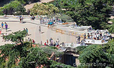 Guell Park Barcelona Catalunia Spain Editorial Stock Image