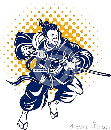 Guerreiro japonês do samurai