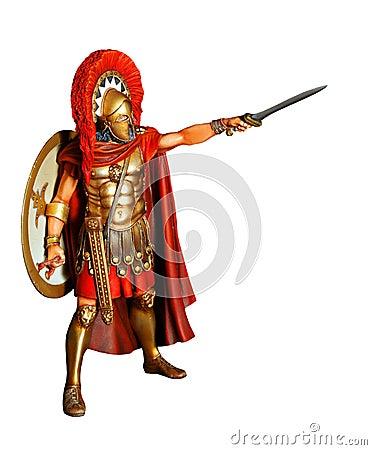 Guerrero espartano en armadura con la espada