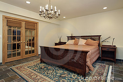 Guest bedroom with french doors