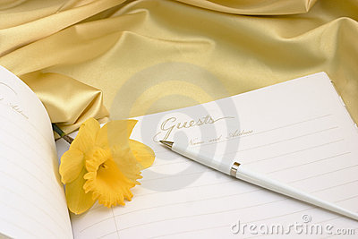 Guest book with daffodil