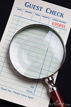 Guest Check and magnifying glass
