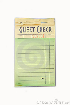 Free Guest Check Pad Royalty Free Stock Photography - 8582567