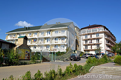 Guest houses on the street in Vityazevo, Krasnodar Krai, Russia Editorial Photo