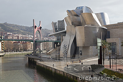 The Guggenheim Museum Bilbao, along the river Nerv Editorial Image