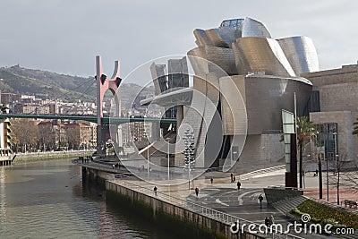 The Guggenheim Museum Bilbao, along the river Nerv Editorial Image