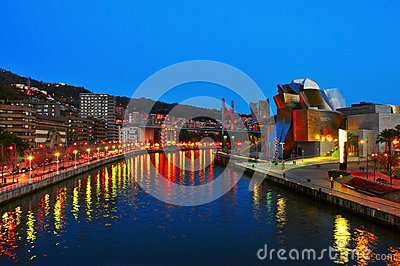 Guggenheim Museum at night in Bilbao Editorial Photo